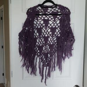 **FREE WITH BUNDLE**Purple hand crocheted shawl